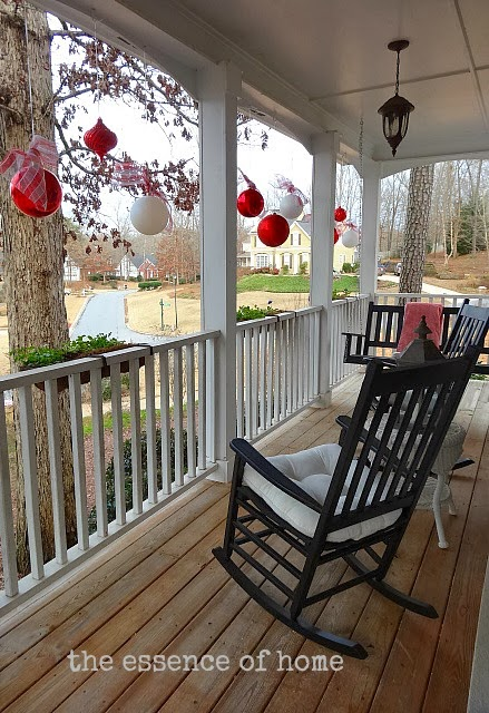Porch With Red and White Ornaments