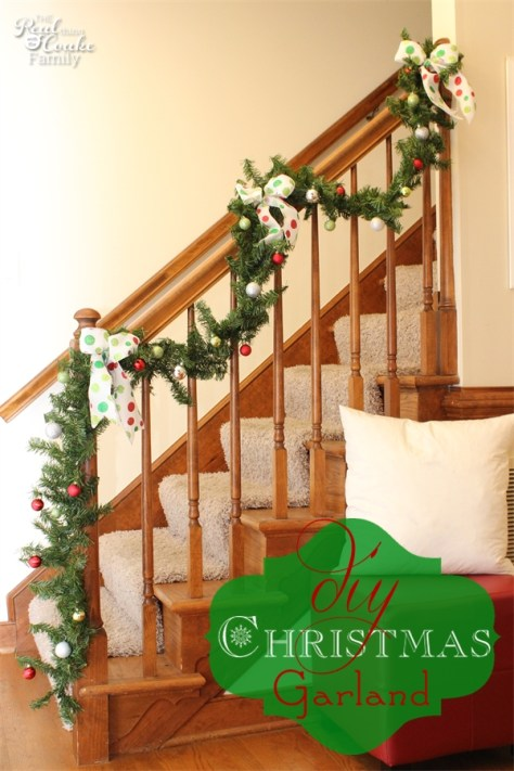 Staircase Decoration With Small Ornaments Garland