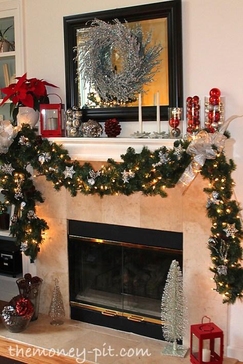 Fireplace Decor with Beautiful Garland