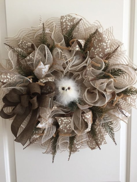 Burlap and Deco Mesh Wreath