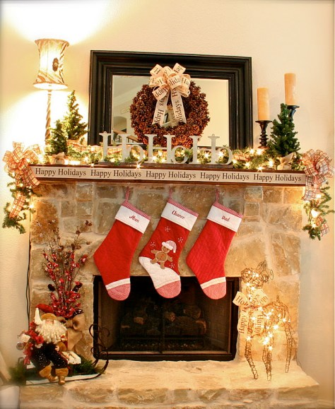 Mantel with Pine Cone Wreath