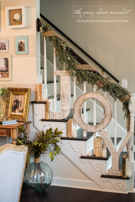 Staircase Decor With Joy Sign