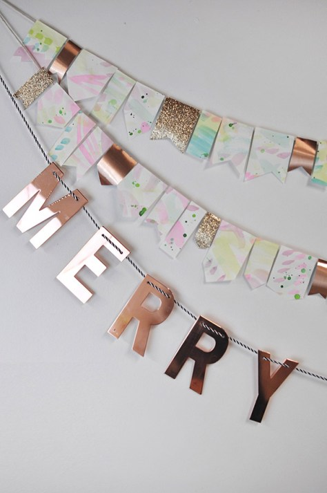 Merry Christmas Watercolor Garland