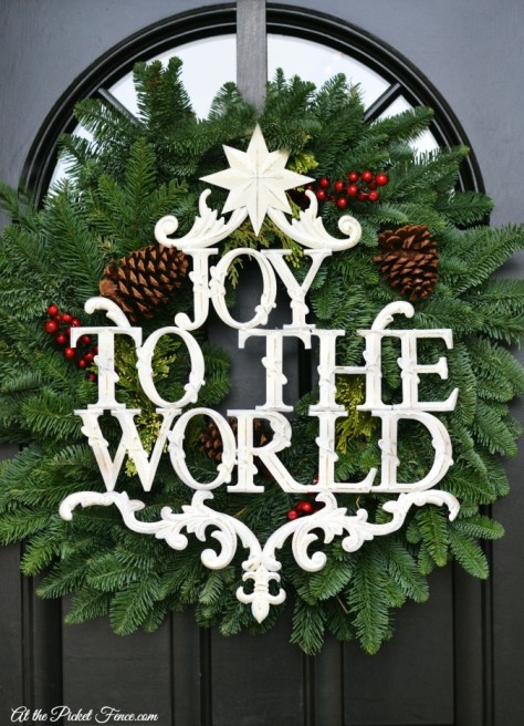 Natural Wreath With JOY To The World Sign