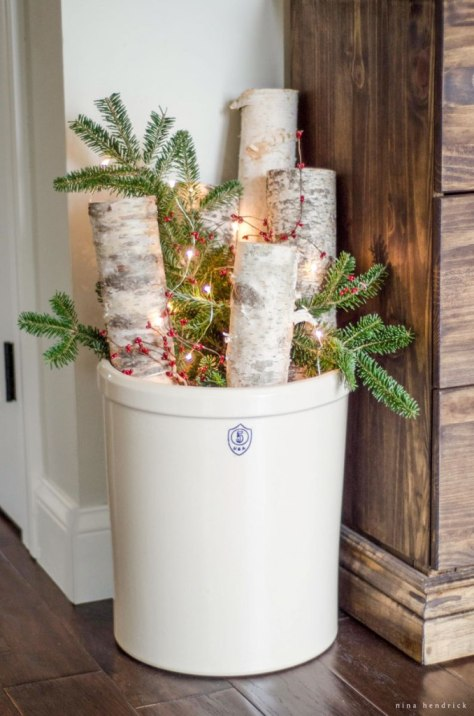 Christmas Crock Filled with Birch