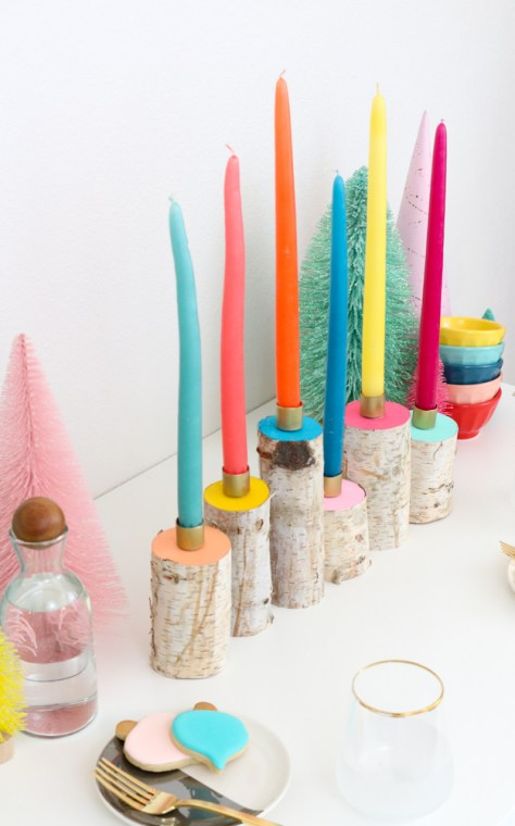 Colorful Birch Wood Candle Holders