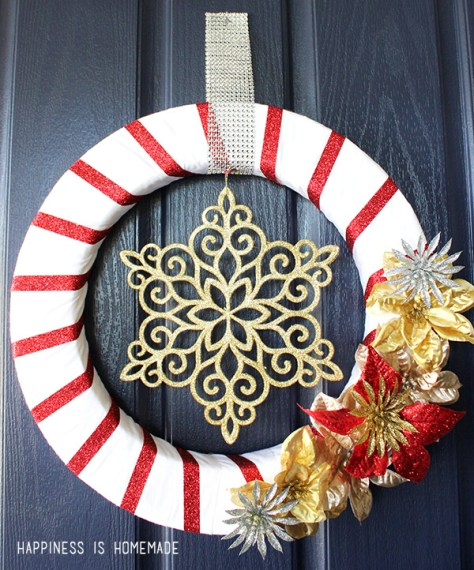Glittery Red & Gold Christmas Wreath