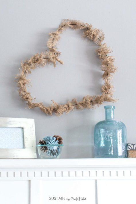 Rustic Burlap Heart Wreath