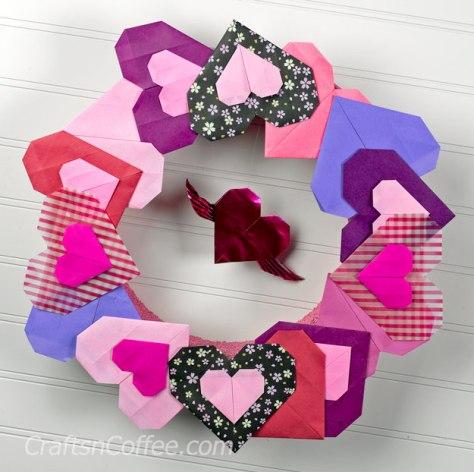 Origami Heart Wreath