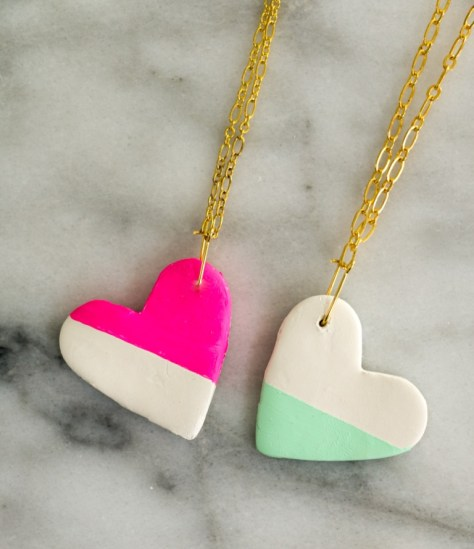 BFF Colorblocked Heart Necklaces
