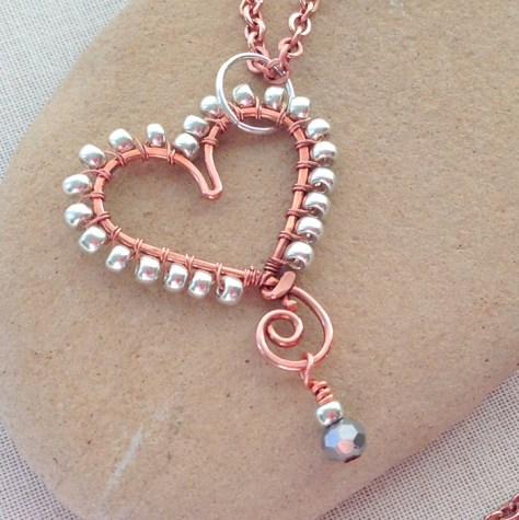 Beaded Wire Heart Necklace