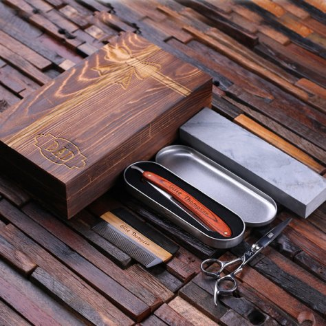 Straight Razor Blade, Wood Comb, Scissors & Sharpening Stones