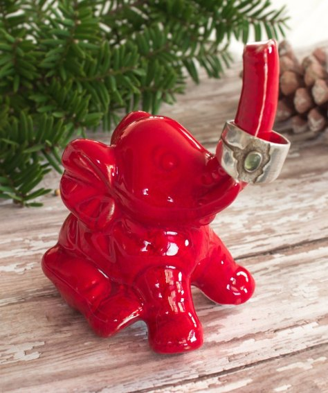 Red Elephant ring holder