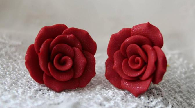 Deep Red Rose Stud Earrings