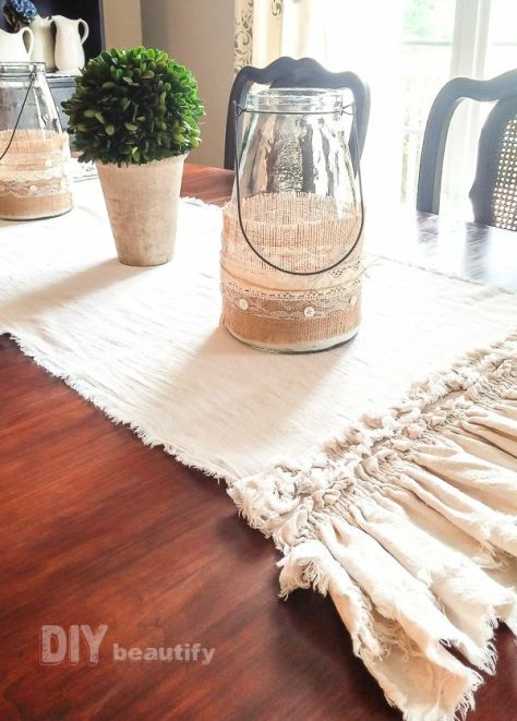 Burlap and Lace Wrapped Candle Holders