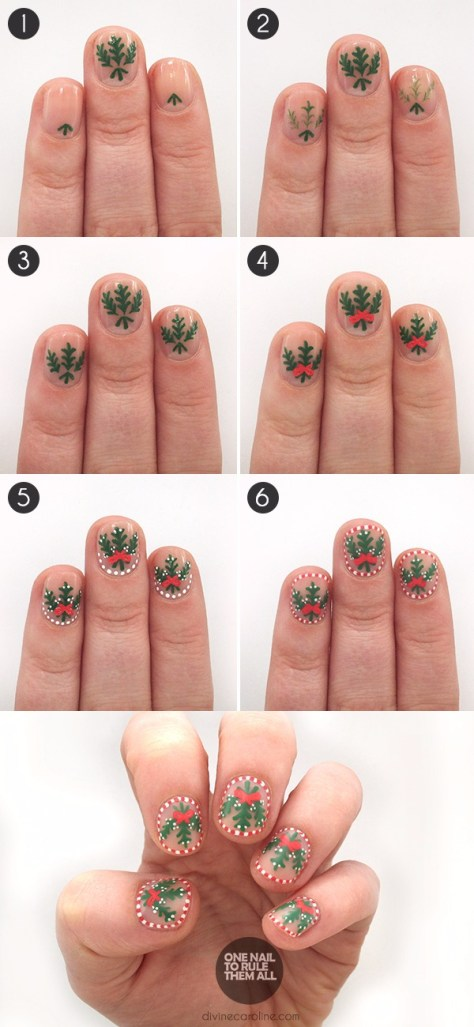 24 diy christmas nail art these will make you feel wow candy cane mistletoe nails prinsesfo Image collections