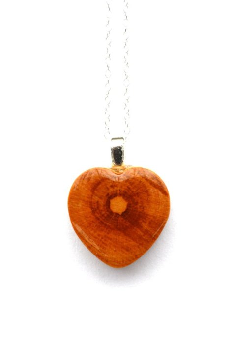 Natural Wood Heart Necklace