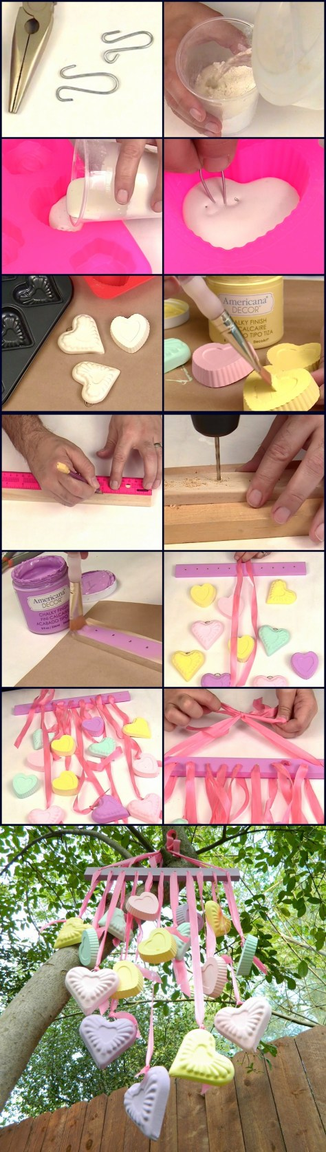 Candy Hearts Wind Chime Tutorial