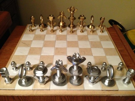 Chess Set Using Just Nuts & Bolts