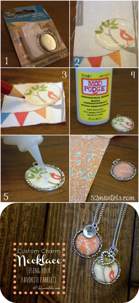 DIY Fabric Charm Necklace