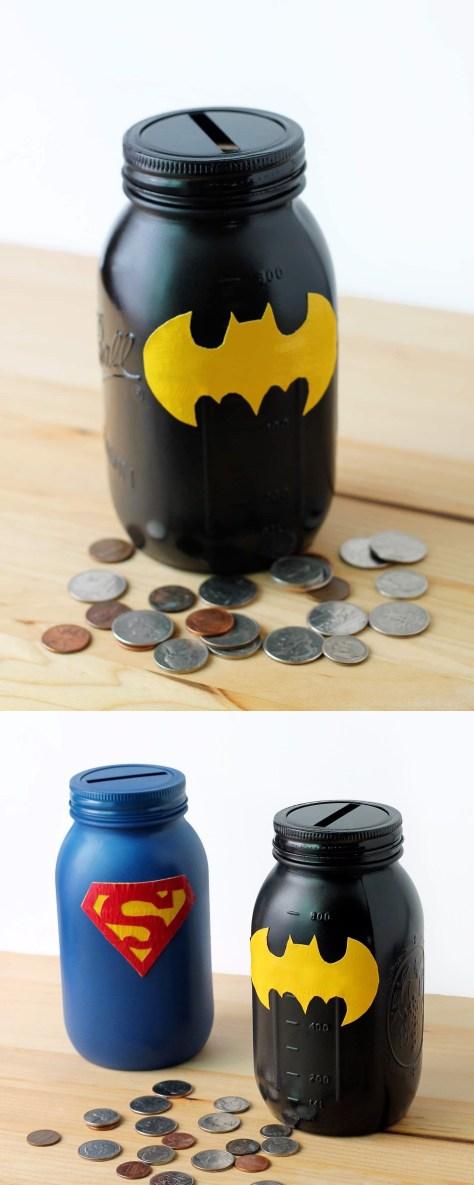 DIY Mason Jar Superhero Bank