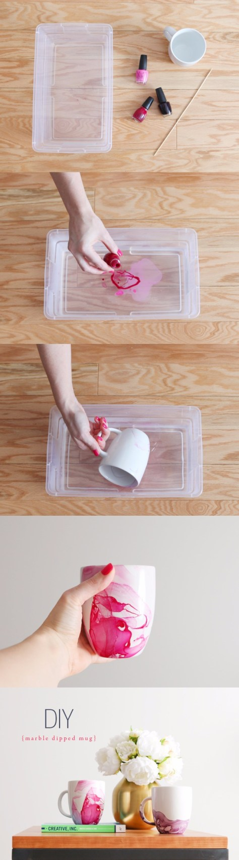 DIY Watercolor Marble Dipped Mug