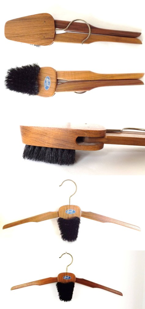 Folding Coat Hanger with Wood Clothes Brush