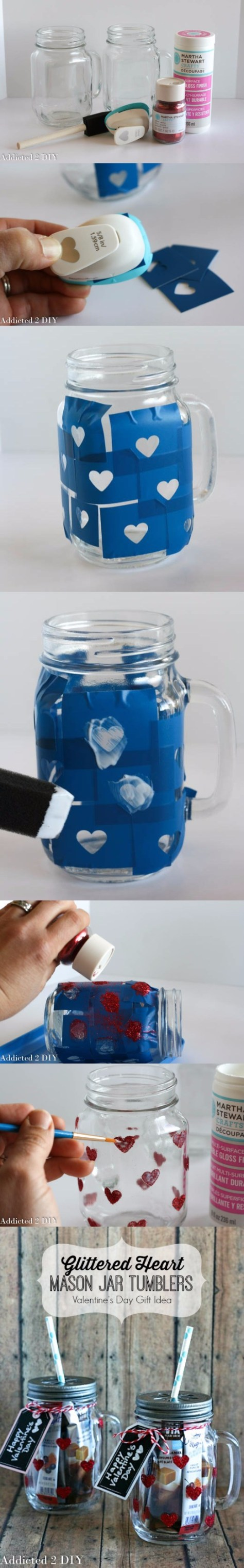Glittered Heart Mason Jar Tutorial