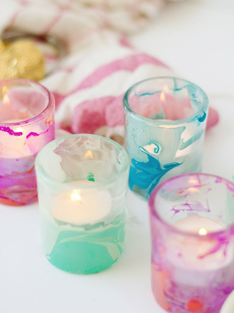 Marble Painted Votives