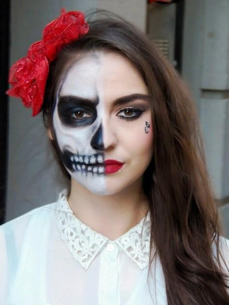 Half Face Skeleton Makeup