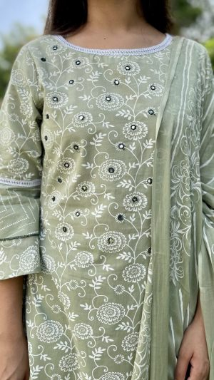 Green Discharge Printed Suit