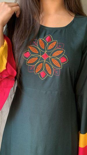 Green Embroidered Kurta
