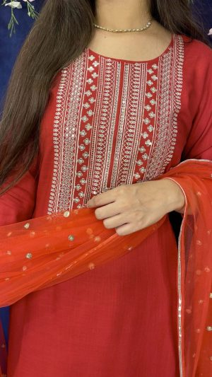 Red Embroidered Suit