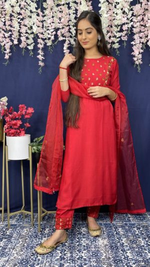 Cherry Red Muslin Suit