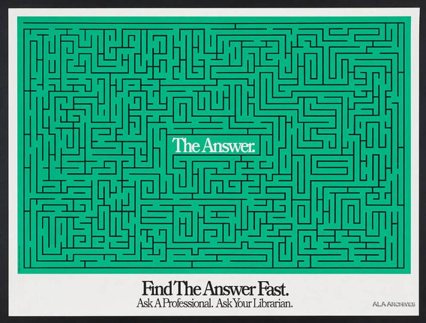 "Poster depicts a maze with ""the answer' in the middle"