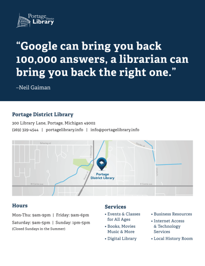 Flyer meant for people new to the area; features a map of the library's location and services