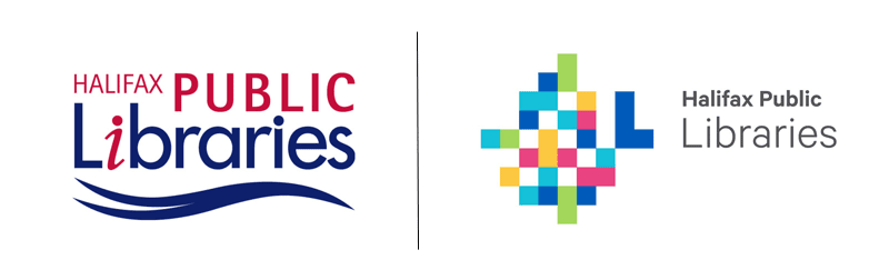 Image displays the before and after of the Halifax Public Library logo