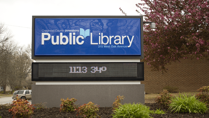 Craighead County Jonesboro Public Library Sign