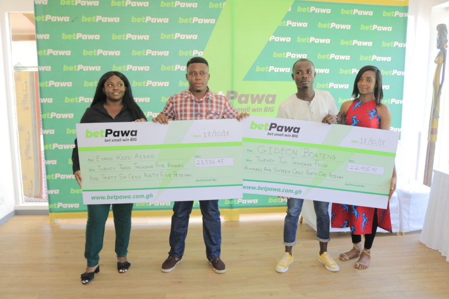 betPawa presents GH¢45,952 to two jackpot winners