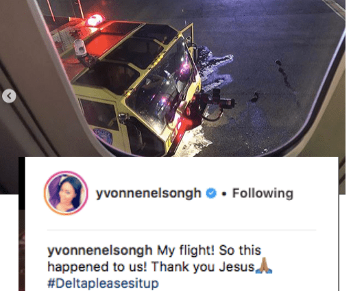 Yvonne Nelson tells Delta Airlines to sit up after her flight caught fire in JFK