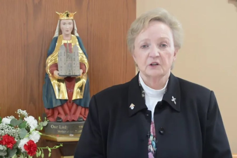 Sister Donna L. Ciangio, chancellor of the Archdiocese of Newark, gives a video address. Screenshot from Vatican News YouTube channel.