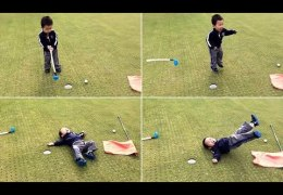 Toddler has perfect reaction ever to missed putt