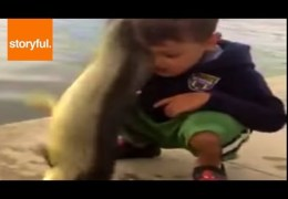 Flopping Fish Slaps Kid In The Face