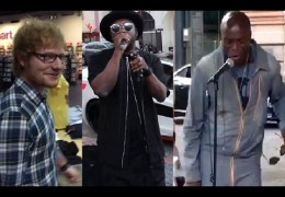 Celebrities join street performers for surprise DUET