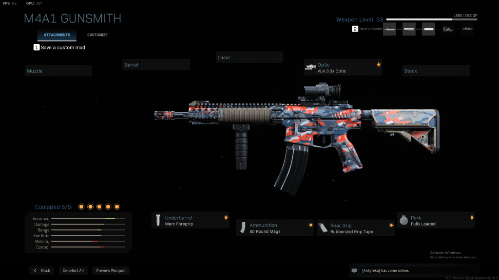 Class setup for M4A1 Modern Warfare
