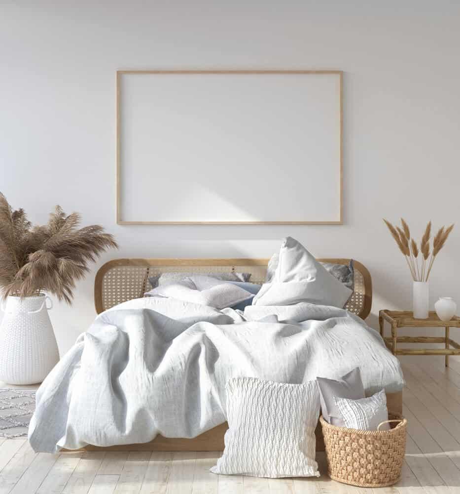 Scandinavian minimalist bedroom, Scandinavian white bedroom