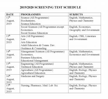 NDU Post UTME Timetable