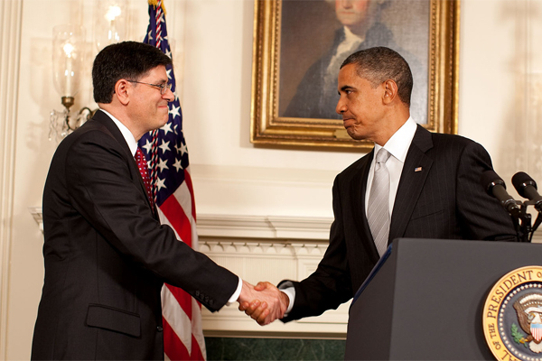 [Photo, L-R: Treasury Secretary Jacob J. Lew and 44th U.S. President Barack Obama]