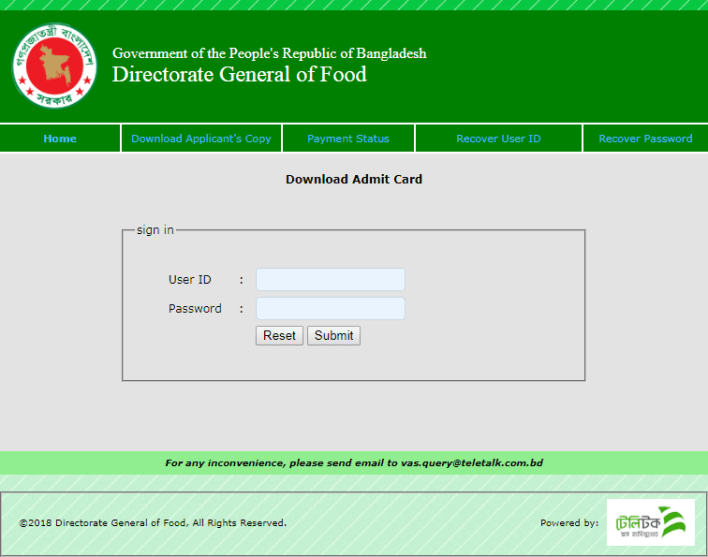 DGFOOD Admit Card Download 2021