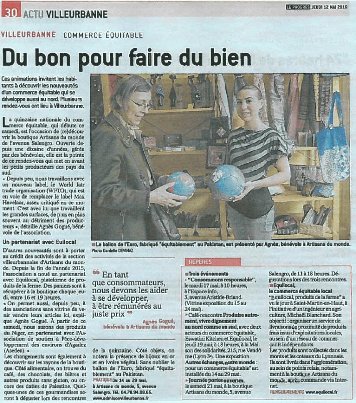 Article Le Progres 12 mai 2016 ADM Villeurbanne